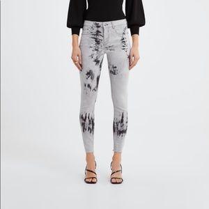 Zara premium skinny inox black splash print jeans